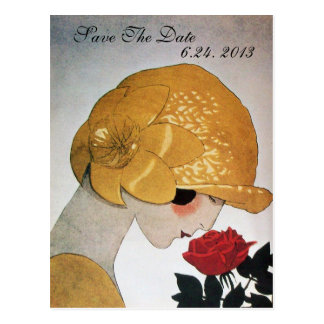 LADY WITH RED ROSE WEDDING SAVE THE DATE POSTCARD