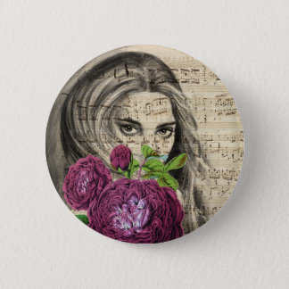 Lady with Roses Pinback Button