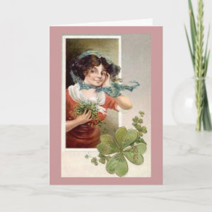 Lady with Shamrocks Card
