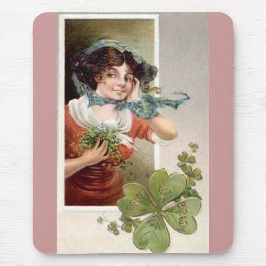 Lady with Shamrocks Mouse Pad