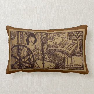 Lady with Spinning Wheel and Book Lumbar Pillow