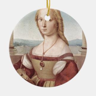 Lady with the Unicorn Raphael Santi Ceramic Ornament