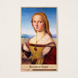 Lady with the Unicorn Raphael Santi portrait paint Business Card