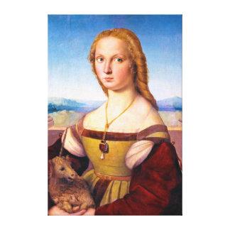 Lady with the Unicorn Raphael Santi portrait paint Canvas Print