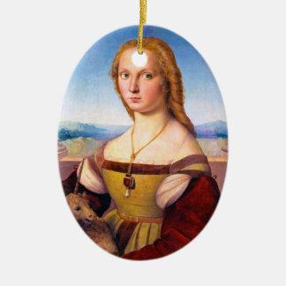 Lady with the Unicorn Raphael Santi portrait paint Ceramic Ornament