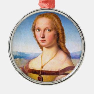 Lady with the Unicorn Raphael Santi portrait paint Metal Ornament