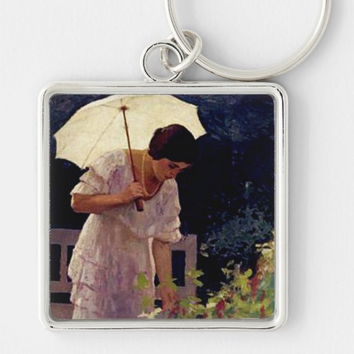 Lady with Umbrella Key Chain
