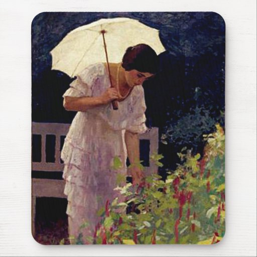 Lady with Umbrella Mouse Pad