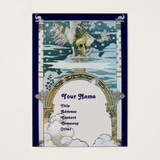 LADY WITH UNICORN ,blue white Business Card