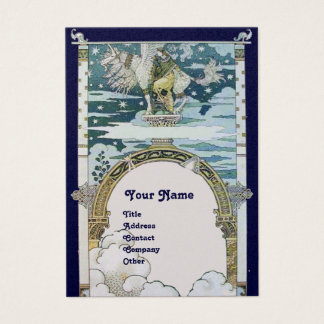LADY WITH UNICORN ,blue white gold Business Card
