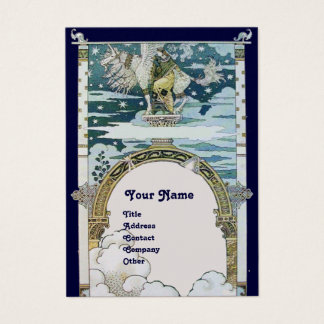 LADY WITH UNICORN ,blue white platinum metallic Business Card