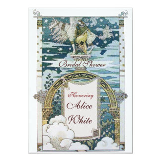 LADY WITH UNICORN BRIDAL SHOWER PARTY CARD