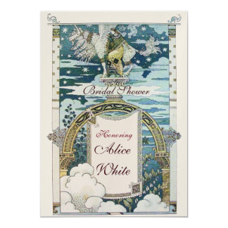 LADY WITH UNICORN BRIDAL SHOWER PARTY GOLD CARD