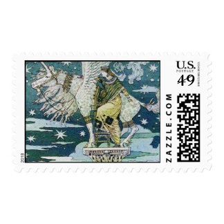 LADY WITH UNICORN POSTAGE STAMP