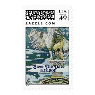 LADY WITH UNICORN , Save the Date Postage Stamp