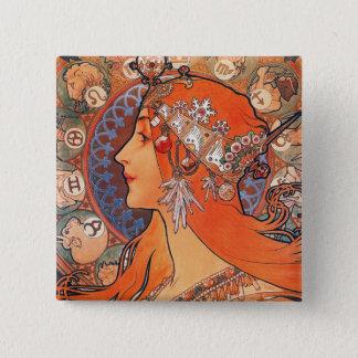Lady with Zodiac Background Pinback Button