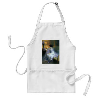 lady woman reading letter antique painting art adult apron