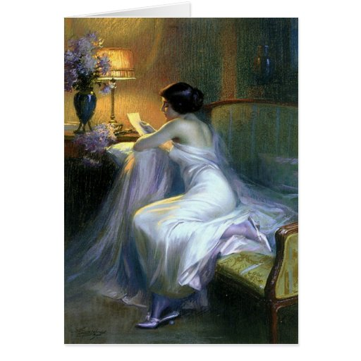 lady woman reading letter antique painting art greeting card