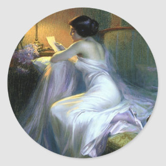 lady woman reading letter antique painting art classic round sticker