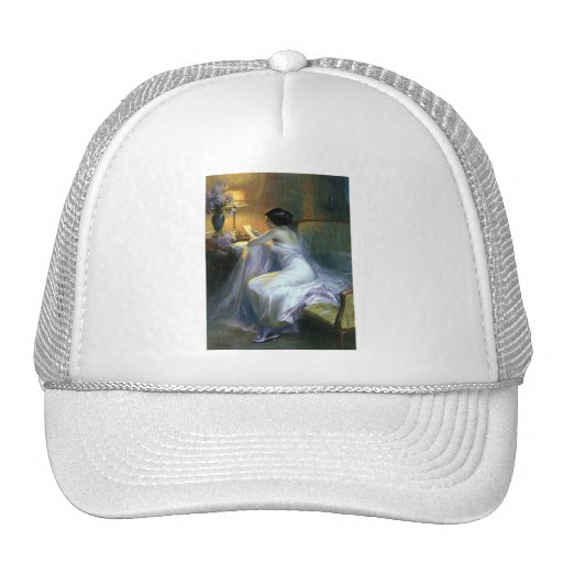 lady woman reading letter antique painting art trucker hat