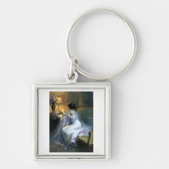 lady woman reading letter antique painting art keychain