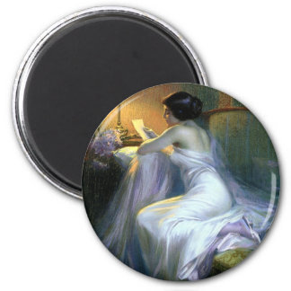 lady woman reading letter antique painting art 2 inch round magnet