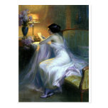 Lady Woman Reading Letter Antique Painting Art Postcard at Zazzle