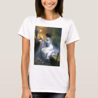 lady woman reading letter antique painting art T-Shirt