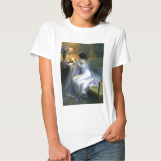 lady woman reading letter antique painting art tee shirt