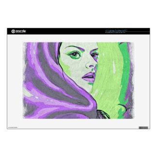 "lady woodblock purple 15"" laptop skins"