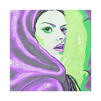 lady woodblock purple canvas print