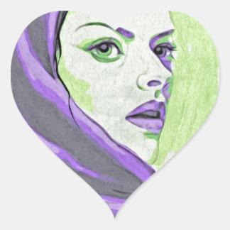lady woodblock purple heart sticker