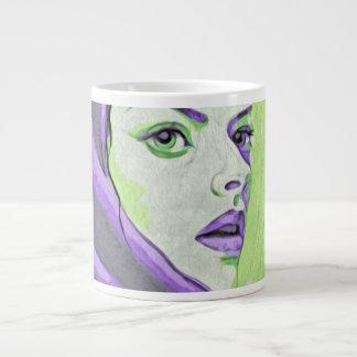 lady woodblock purple large coffee mug