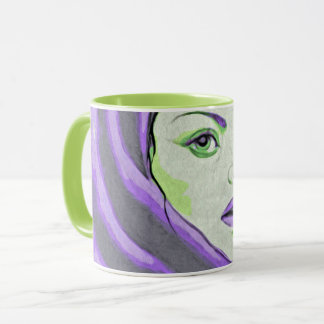 lady woodblock purple mug