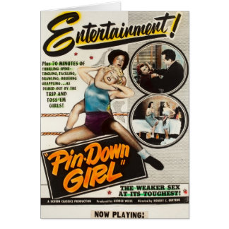 Lady Wrestlers Pin Down Girl Vintage Movie Poster Greeting Card