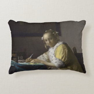 Lady Writing a Letter by Johannes Vermeer Accent Pillow