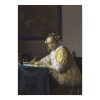 Lady Writing a Letter by Johannes Vermeer Card