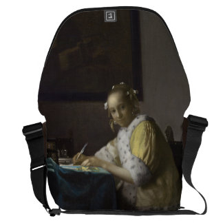 Lady Writing a Letter by Johannes Vermeer Courier Bag