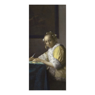 Lady Writing a Letter by Johannes Vermeer 4x9.25 Paper Invitation Card