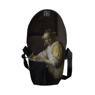 Lady Writing a Letter by Johannes Vermeer Messenger Bag