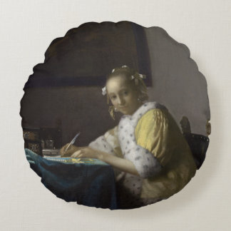 Lady Writing a Letter by Johannes Vermeer Round Pillow