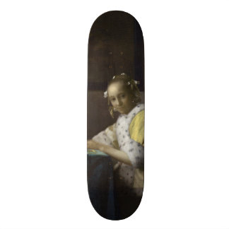 Lady Writing a Letter by Johannes Vermeer Skateboard