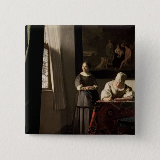 Lady writing a letter with her Maid, c.1670 Button