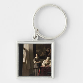 Lady writing a letter with her Maid, c.1670 Keychain