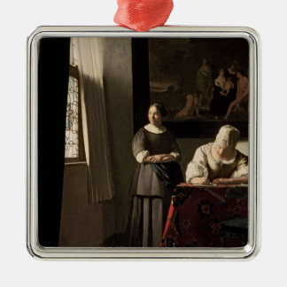 Lady writing a letter with her Maid, c.1670 Metal Ornament
