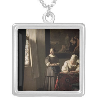 Lady writing a letter with her Maid, c.1670 Square Pendant Necklace