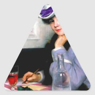 Lady Writting Letter antique painting Triangle Sticker