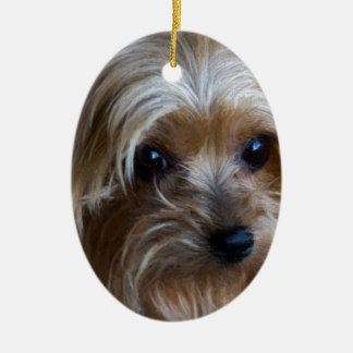 Lady Yorkshire Terrier Ceramic Ornament