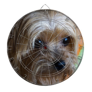 Lady Yorkshire Terrier Dartboard With Darts