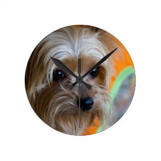 Lady Yorkshire Terrier Puppy Round Clock